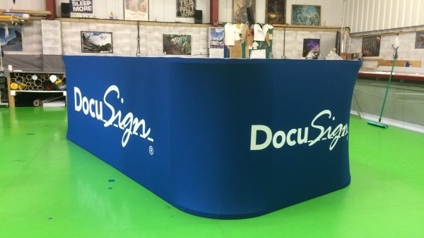 Fabric Squares and Cubes with wide formatting print for exhibition stands