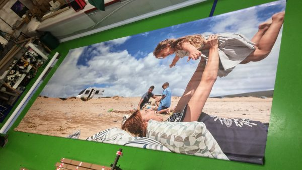 Wide format printing on fabric walling and screens