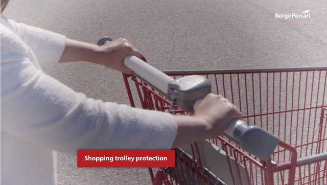 Using AGIVIR STICK'ON as a covering on shopping trolleys